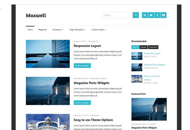 Maxwell - Free Responsive Blog WordPress Theme