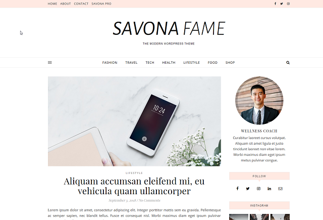 Savona Offers Several Free WordPress Blog Themes