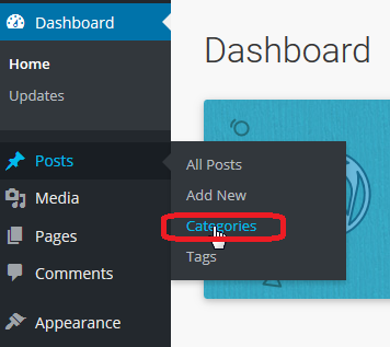 Go to Posts then to Categories in your WordPress admin