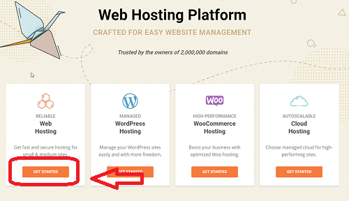 Click Get Started under Reliable Web Hosting on SiteGround