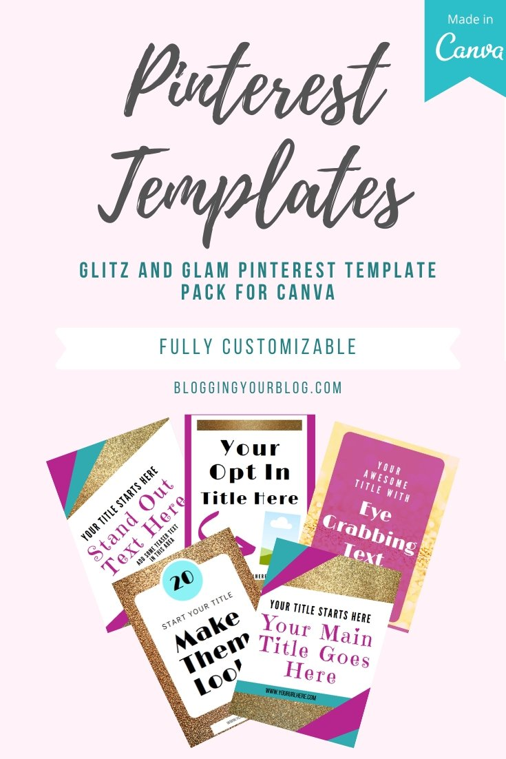 Glitz and Glam Pinterest Templates for Canva